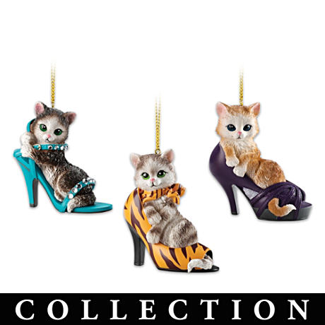 Sassy Fashion Cats And Stylish Shoe Ornament Collection