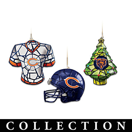 Stained Glass-Style Chicago Bears Ornament Collection