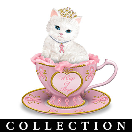 """Purr-fectly Hopeful"" Breast Cancer Support Kitten Figurines"