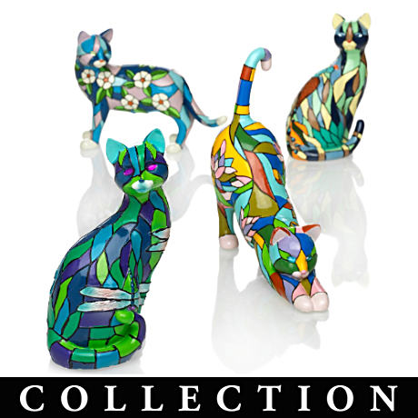 "Louis-Comfort Tiffany ""Stained-Glass""-Style Cat Figurines"