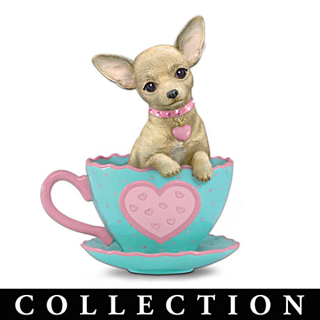 """Cherished Chihuahua"" Teacup Figurines With ""Gem"" Collars"