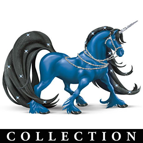 Colored Unicorn Figurines With Swarovski Crystals