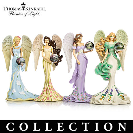 "Thomas Kinkade Angel Figurines With ""Art Gazing Balls"""