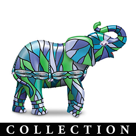 Louis Comfort Tiffany-Style Elephant Figurine Collection