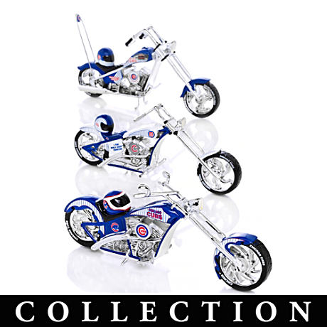 Chicago Cubs Motorcycle And Helmet Figurine Collection