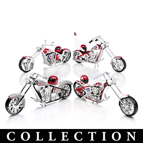 Phillies Motorcycle And Helmet Figurine Collection