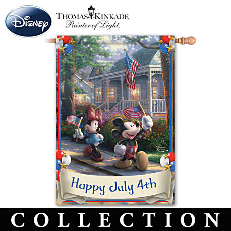 Mickey & Minnie Holiday Flags With Thomas Kinkade Art