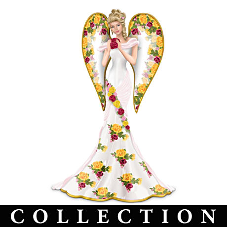 Bone China-Inspired Rose Garden Angel Figurine Collection