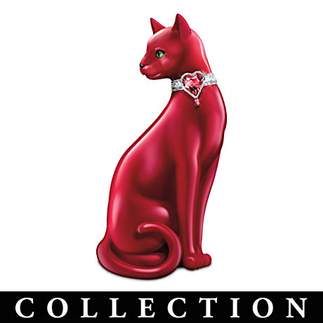 WomenHeart Support Cat Figurine Collection With Crystals