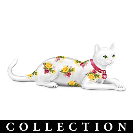 English Rose-Patterned Cat Figurines With Swarovski Crystals