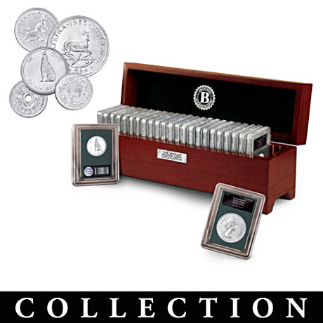 World Silver Coin Collection With Deluxe Wooden Display Case