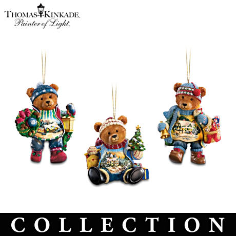 Thomas Kinkade Teddy Bear Illuminated Christmas Ornaments