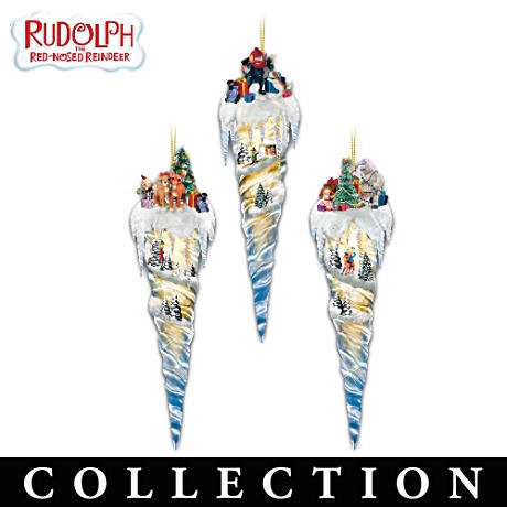 Rudolph Illuminated Icicle Ornament Collection