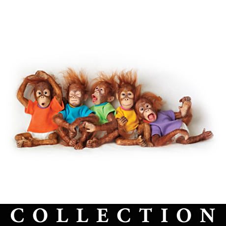 Lifelike Poseable Simian Dolls With Soft Wispy Hair