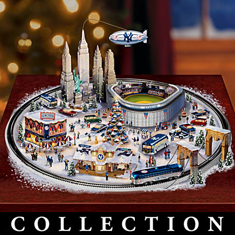 New York Yankees Village Collection With Circling Trolley