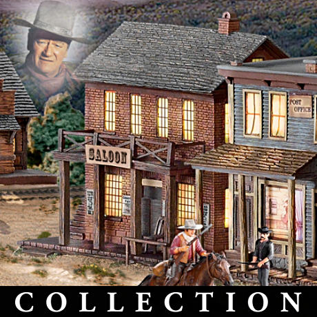 Illuminated John Wayne Village With FREE Figurines