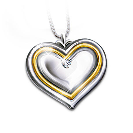 Diamond Heart Engraved Pendant For Daughters