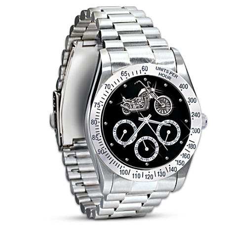 """Ride Hard, Live Free"" Chronograph Motorcycle Watch"
