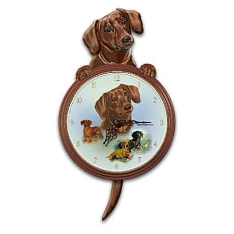 """Tail-Waggin' Time"" Dachshund Clock With Sculpture"