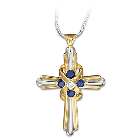 Sapphire And Diamond Cross Religious Pendant Necklace
