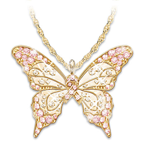 """Butterfly Of Hope"" Breast Cancer Awareness Pendant"