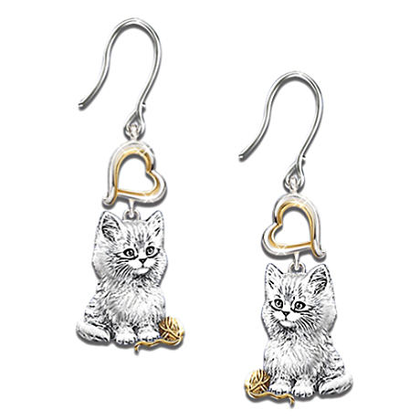 "The ""Purr-fect Companion"" Solid Sterling Silver Cat Earrings"