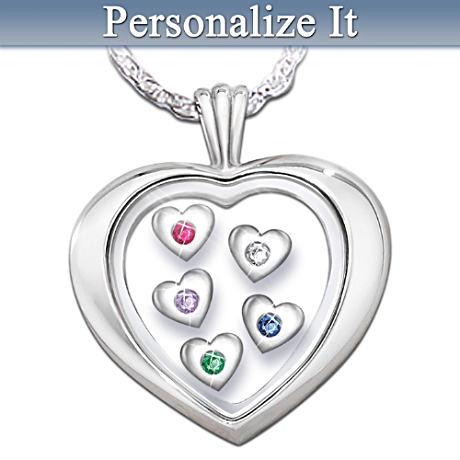 """Mother's Loving Heart"" Diamond And Birthstone Pendant"