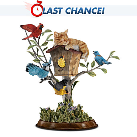 """Wake-Up Call"" Cat And Bird Tree Figurine"