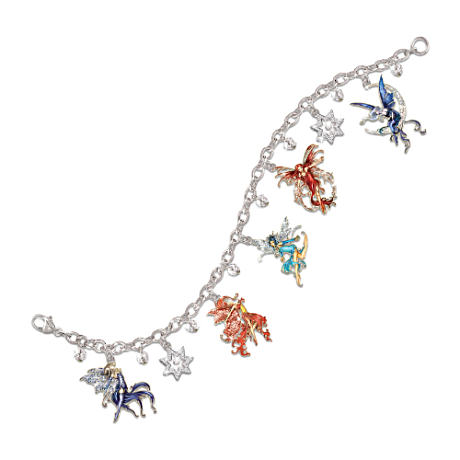 Amy Brown Fairy Art Swarovski Crystal Charm Bracelet