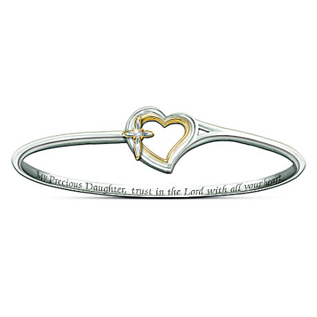 Faith And Love Engraved Diamond Bracelet For Daughter