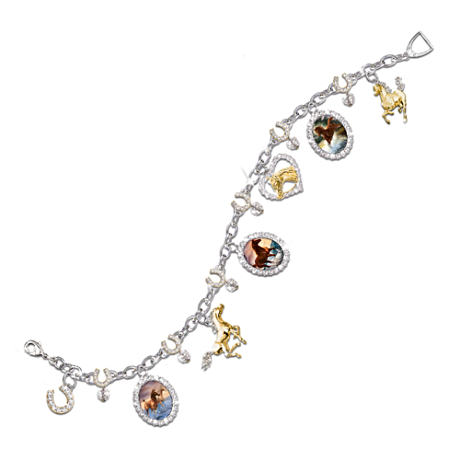 """Spirit Of The Wind"" Wild Horses Charm Bracelet"
