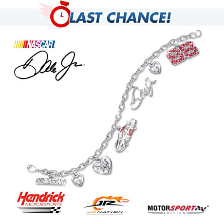 The Dale Earnhardt Jr. Swarovski Crystal Charm Bracelet