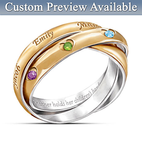 """A Heartfelt Bond"" Personalized Birthstone Ring For Mother"