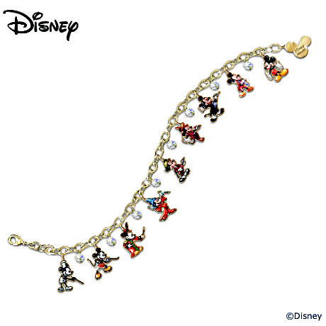 """Mickey Through The Years"" Swarovski Crystal Charm Bracelet"