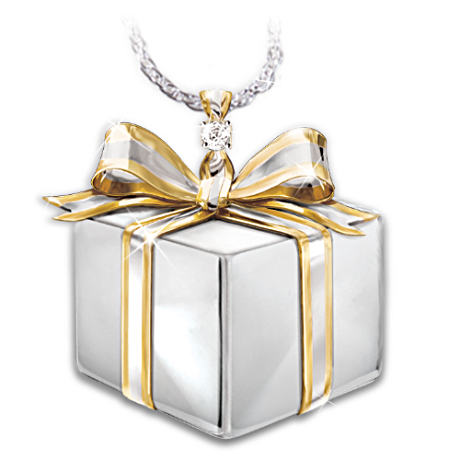 Daughter-In-Law Gift-Box-Shaped Diamond Pendant