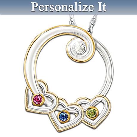 """Lineage Of Love"" Personalized Diamond Birthstone Pendant"