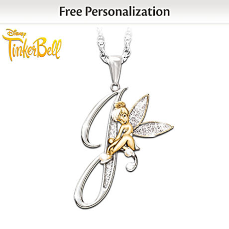 Crystal Pendant Of Your Initial And Tinker Bell