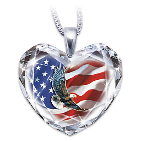 """American Pride"" Crystal Heart Pendant With Eagle Art"