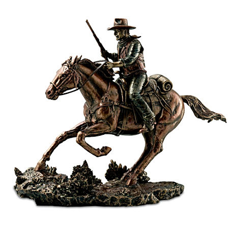 Frederick Remington Bronze-Style John Wayne Sculpture