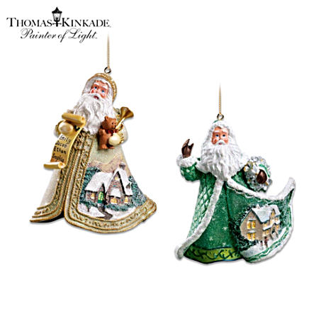 "Thomas Kinkade ""Sugar-Coated"" Santa Ornaments: Set Of Two"