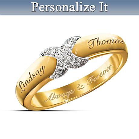 """Everlasting Kiss"" Personalized Diamond Ring"
