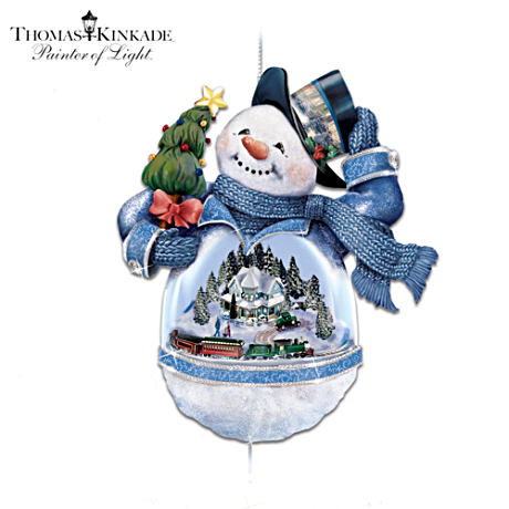 Thomas Kinkade Snowman Ornament With Home, Moving Train