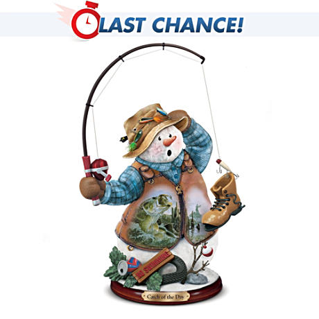Fishing Snowman Figurine Featuring Al Agnew Art