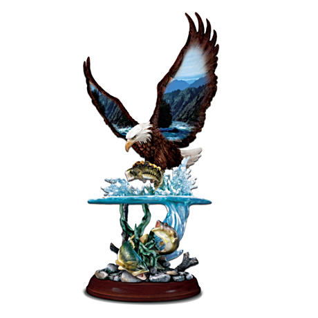 "Two-Level ""Striking Eagle"" Tabletop Wildlife Sculpture"