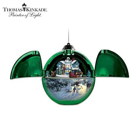 Thomas Kinkade Secluded Holiday Musical Motion Ornament