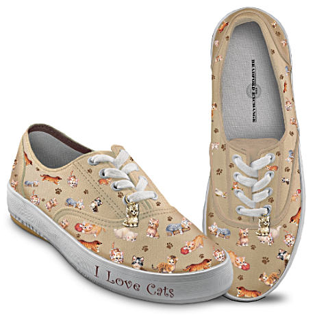 """Kitten Capers"" Women's Canvas Sneakers"