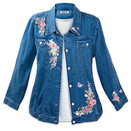 Lena Liu Floral Art Stone-Washed Denim Women's Jacket