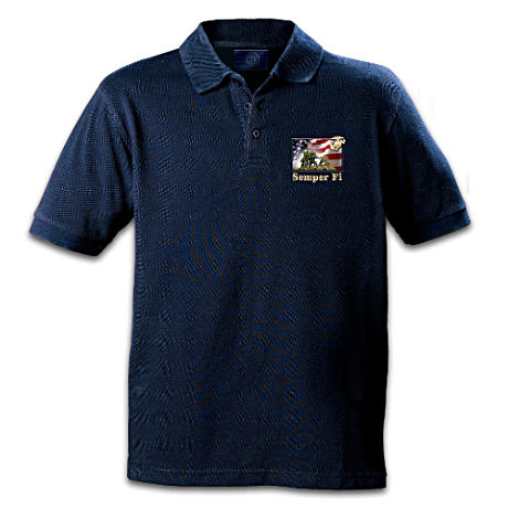 """Semper Fi"" Embroidered Marine Corps Polo Shirt"