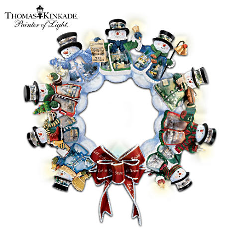 Thomas Kinkade Illuminated Musical Snowman Wreath