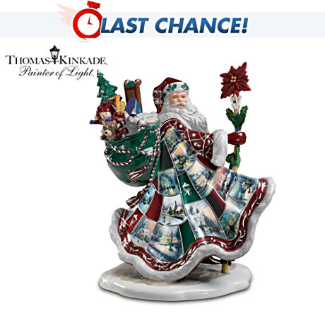 "Thomas Kinkade ""Santa's Holiday Best"" Porcelain Figurine"